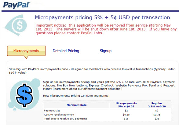 micropayments paypal