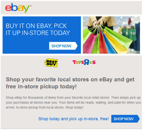 Ebay Caters To Large Retailers With In Store Pickup