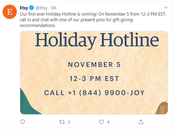 Etsy Launches Holiday Hotline but Restrictions Apply