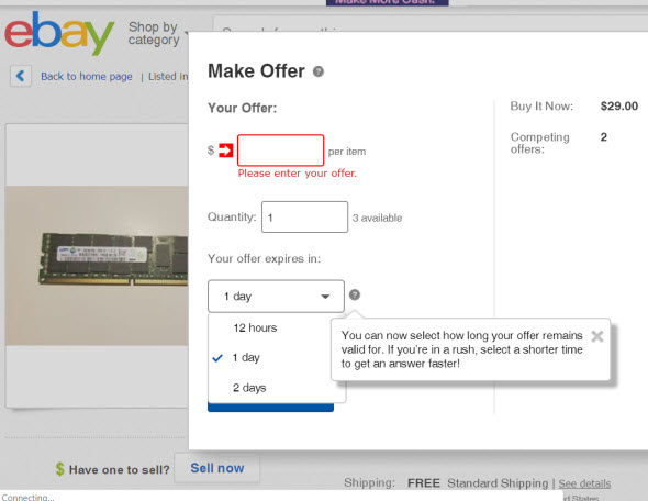 Ebay Lets Buyers Shorten Best Offer Window