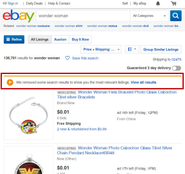 Should Ebay Be Restricting Search Results