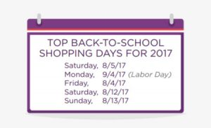 Top Back-to-School Shopping Days 2017