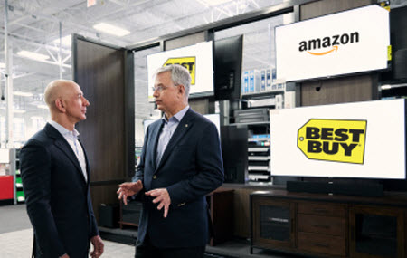 Amazon Jeff Bezos announcing Best Buy collaboration