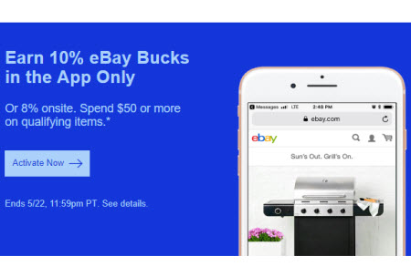 eBay Bucks Promo May 2018