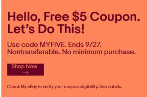 eBay MYFIVE coupon promotion