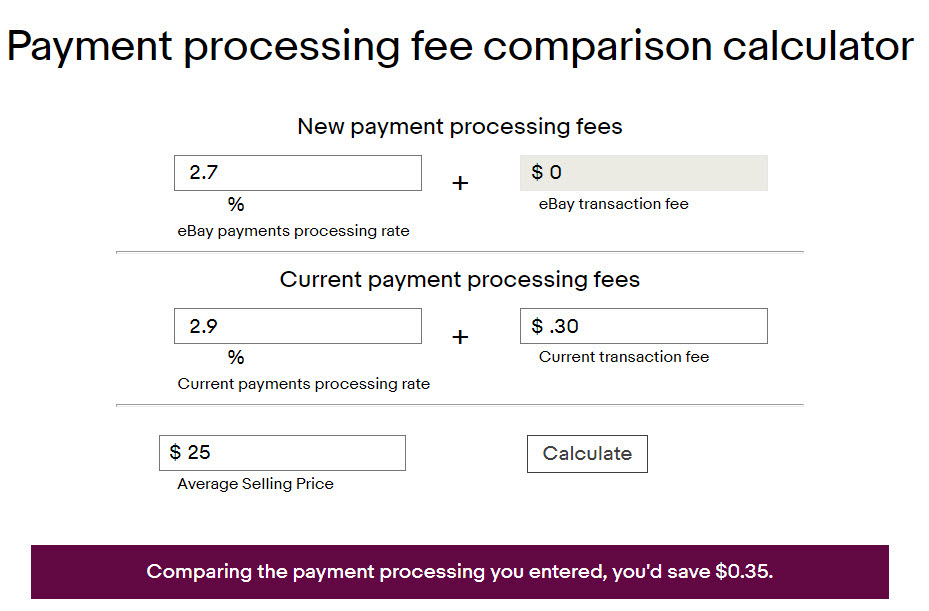 eBay managed payments calculator