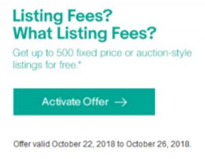 eBay free listing promotion October 22 2018