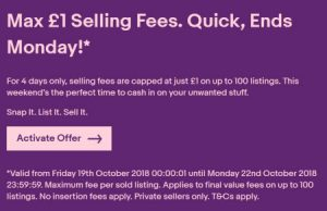eBay UK Seller Promotion October 2018