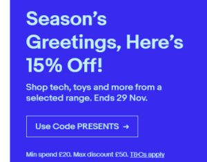 eBay UK Coupon Sale November 2018