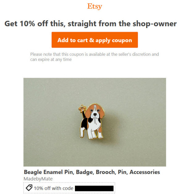 Etsy Targeted Offers email