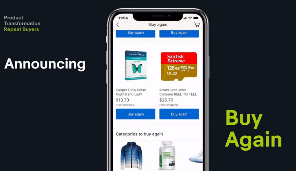 eBay Buy Again feature