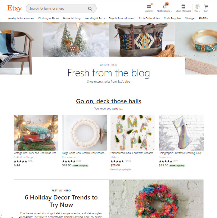 Etsy email marketing landing page